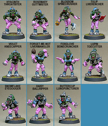 FEMALE ORC GRIDIRON TEAM (11) -  weibliches Blood Bowl Team (Orks)